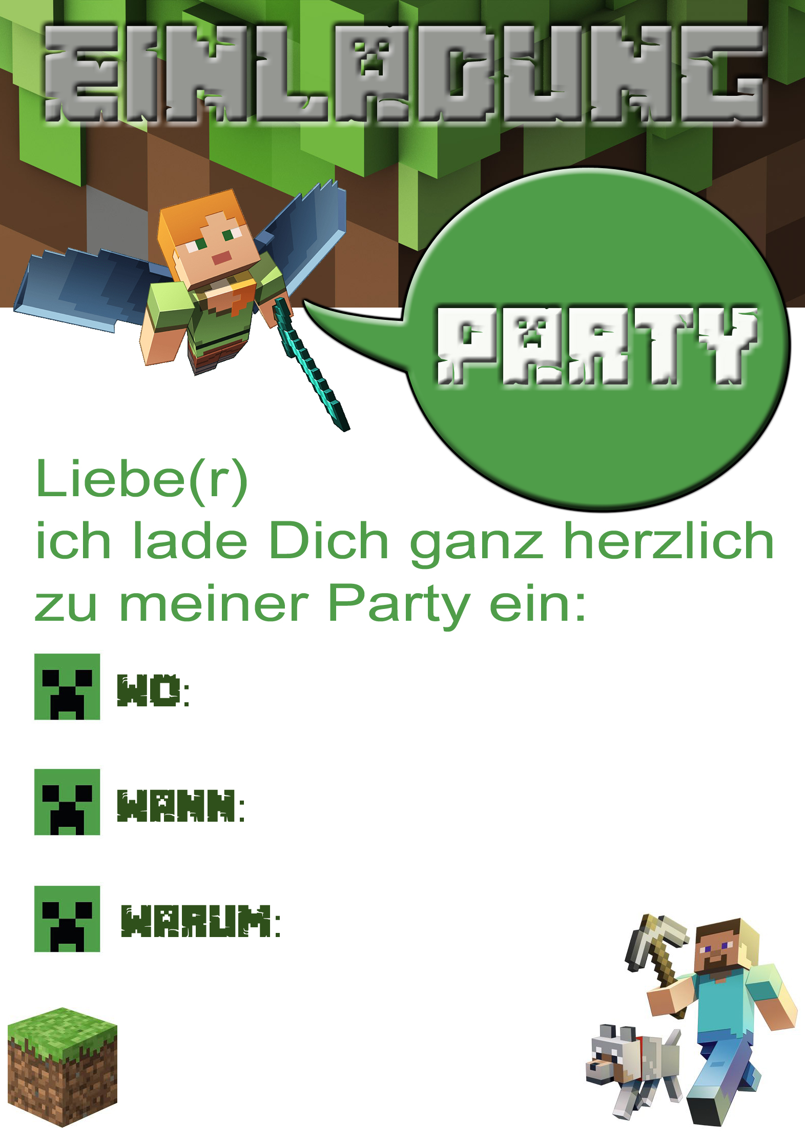 Minecraft party selbstgemacht for Party utensilien